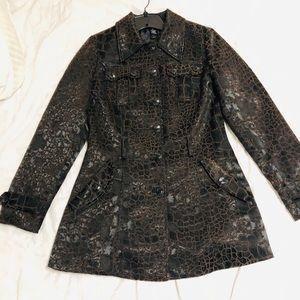 Textured print pea coat